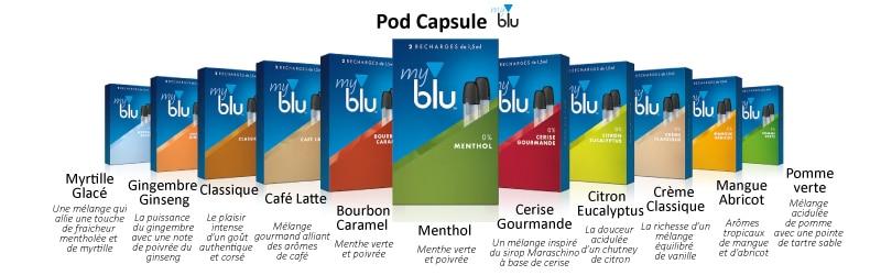 cartouches pods, capsule pod, capsule pod myblu, saveurs myblu, Myblu, eliquide, e-liquide saveur