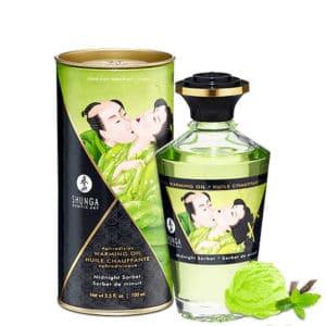 huille massage sorbet menthe shunga, huile massage comestible, huile massage chauffant, huile massage pas cher, massage chauffant, huile de massage, huile massage aphrodisiaque, shunga, huile de massage shunga
