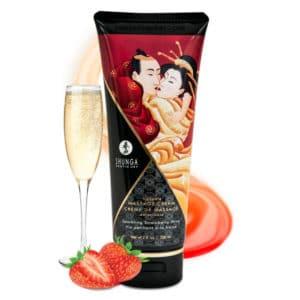 creme de massage, creme massage comestible Vin Pétillant Fraise, crème massage shunga, massage, creme massage pas cher, huile de massage, shunga, crème massage comestible shunga