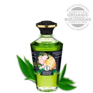 huile de massage chauffante, huile de massage coquine, massage au thé vert, massage couple