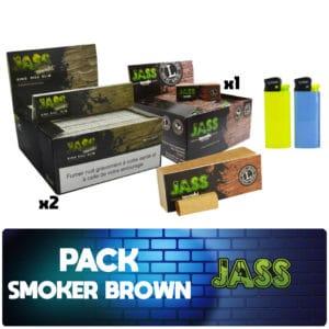 Pack fumeur Jass brown, jass brown, jass slim brown, jass filtre tips, jass pas cher, jass prix, feuille jass prix
