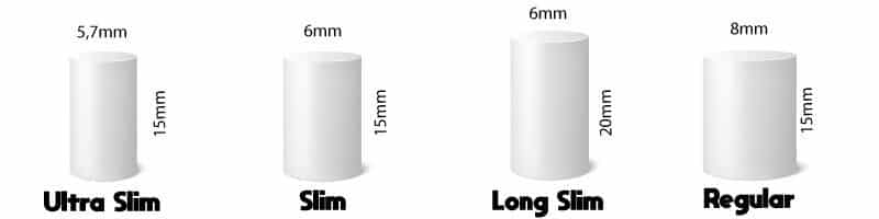 dimensuon filtre cigarette, taille filtre cigarette, filtre cigarette 6mm, filtre cigarette slim, filtre 8mm regular